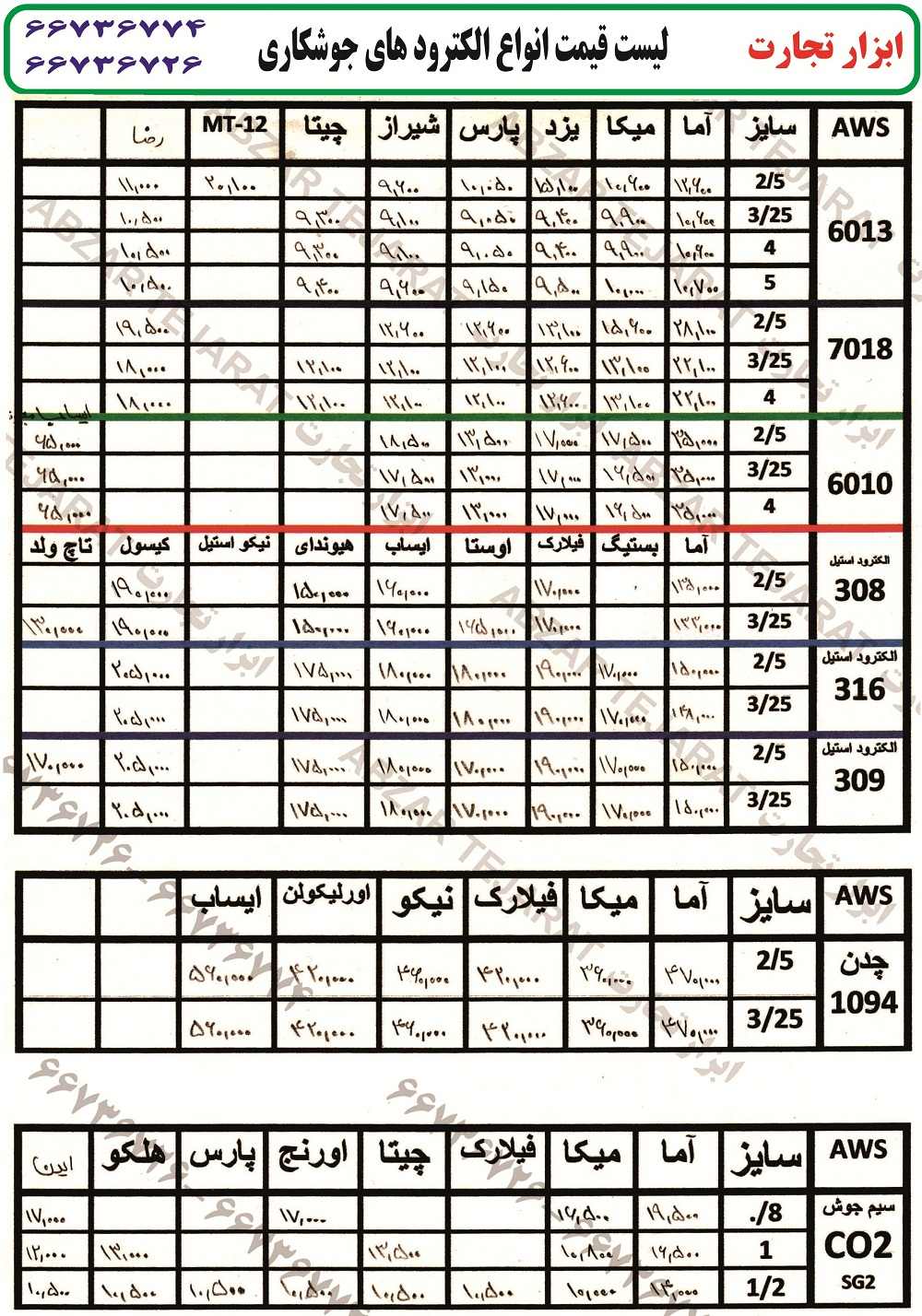 لیست قیمت الکترود, قیمت الکترود , الکترود